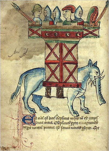 Elephant from a 15th c. bestiary (The Royal Library of Denmark)